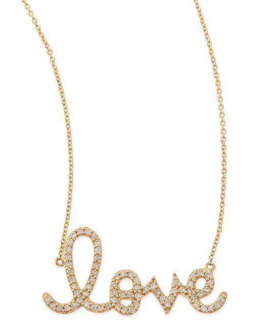 Sydney Evan | Metallic Large 14k Yellow Gold & Diamond Love Necklace | Lyst