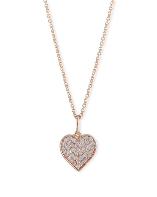 Sydney Evan | Metallic Small Anniversary 14k Rose Gold Heart Pendant Necklace With Diamonds | Lyst