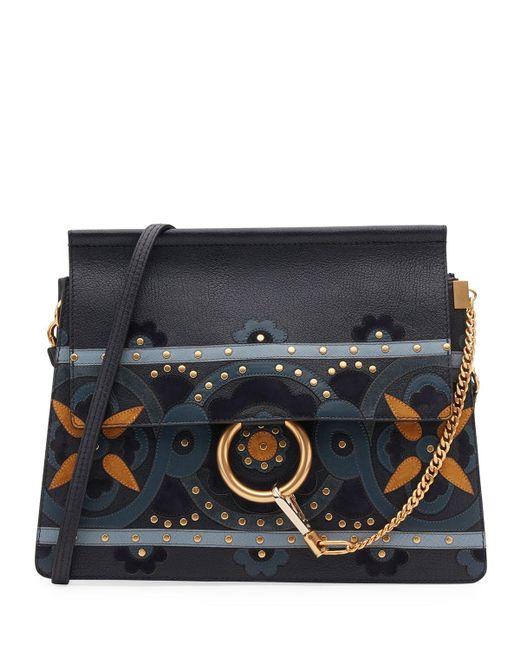 Chloé | Blue Faye Studded Floral Shoulder Bag | Lyst