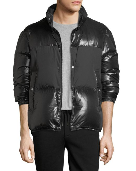 Moncler - Black Aynard Shiny Puffer Jacket W/ Matte Center for Men - Lyst