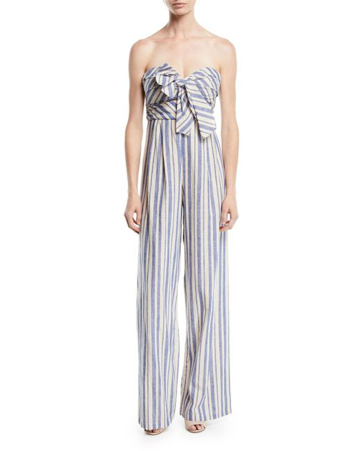 Johanna Ortiz - Blue Honolulu Bow-top Striped Linen-cotton Wide-leg Jumpsuit - Lyst