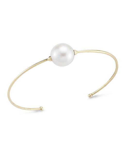 Mizuki | Metallic 14k Single Pearl Cuff Bracelet | Lyst