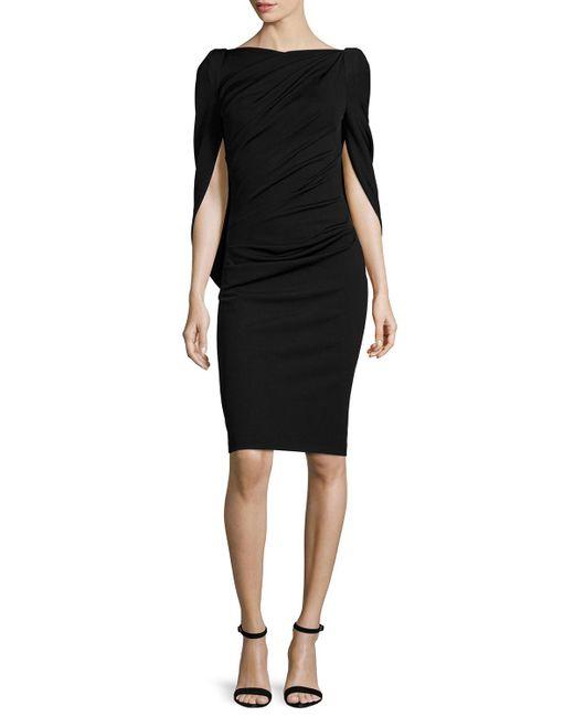 Talbot Runhof - Black Konica Cowl-back Ruched Cocktail Dress - Lyst