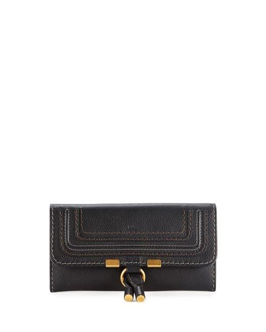 Chloé - Black Marcie Continental Flap Wallet - Lyst