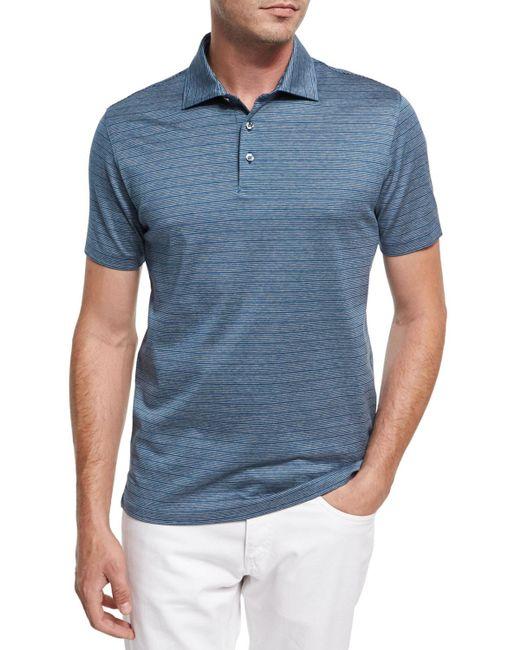 Ermenegildo Zegna | Blue Striped Cotton Polo Shirt for Men | Lyst
