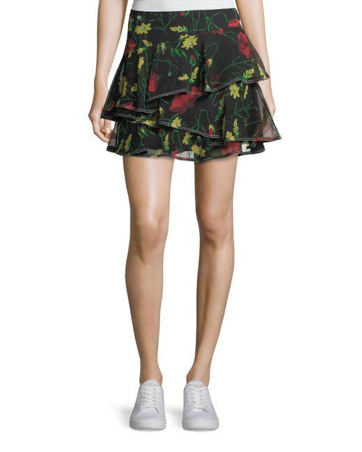Jason Wu   Black Floral-print Ruffled Silk Miniskirt   Lyst
