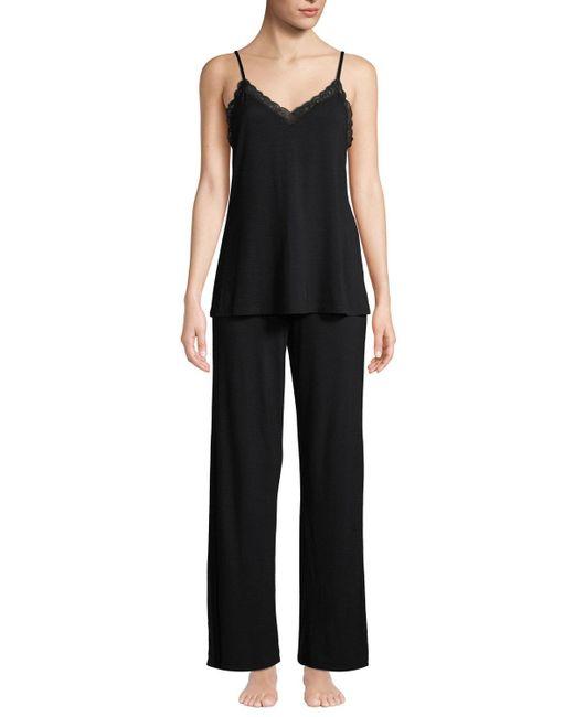 Natori - Black Feathers Satin Camisole Pajama Set - Lyst