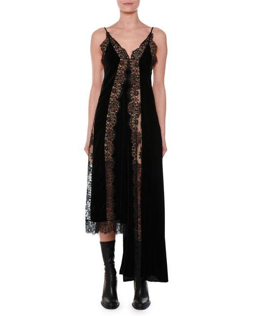 Stella McCartney - Black Assymetrical Velvet Lace Gown - Lyst