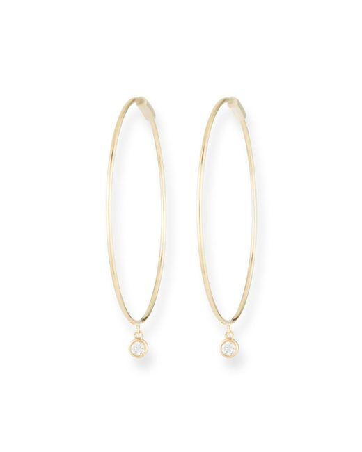 EF Collection - Metallic The Perfect 14k Gold Hoop Earrings W/ Diamond Bezel - Lyst