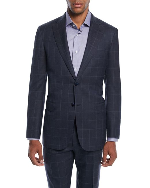 Brioni - Blue Men's Windowpane Two-piece Wool-silk Suit for Men - Lyst