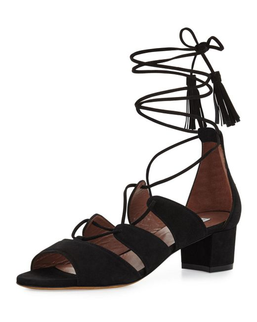 Tabitha Simmons | Black Isadora Suede Lace-up Sandal | Lyst