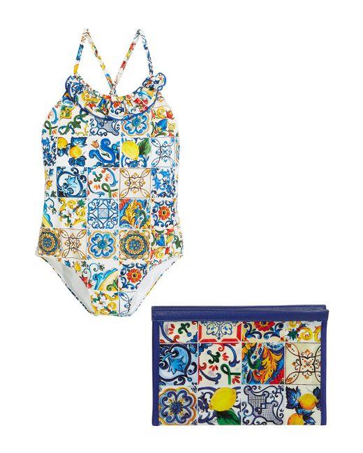 f1332cf761 ... Dolce   Gabbana - Blue Maiolica-print Cross-back One-piece Swimsuit -