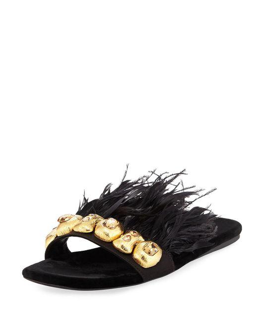 Prada   Black Feather-embellished Flat Slide Sandal   Lyst