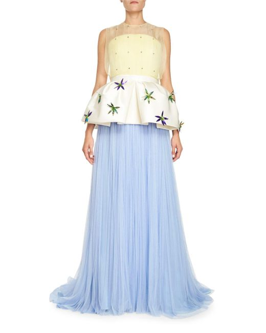 Delpozo - Blue Pleated Tulle Gown - Lyst