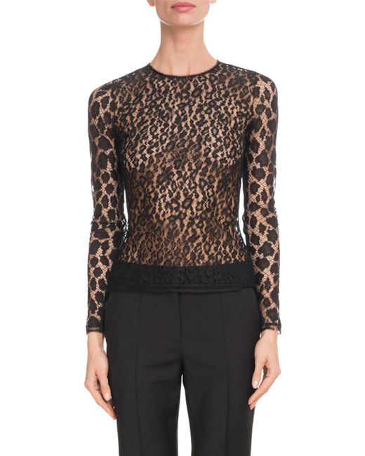Givenchy - Black Crewneck Long-sleeve Fitted Sheer Leopard Lace Top - Lyst