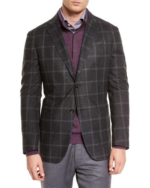 Ermenegildo Zegna | Black Windowpane Two-button Silk Blazer for Men | Lyst