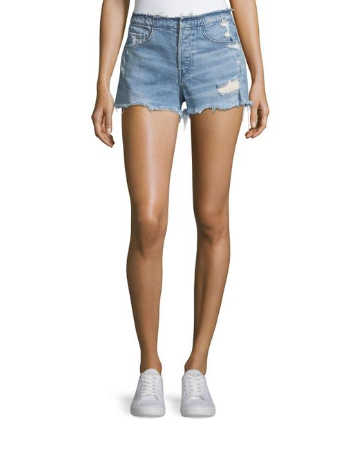 3x1 - Blue Shelter High-rise Stripped Denim Shorts - Lyst