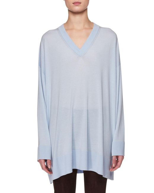 The Row - Blue Sabrinah V-neck Long-sleeve Oversized Cashmere-silk Sweater - Lyst