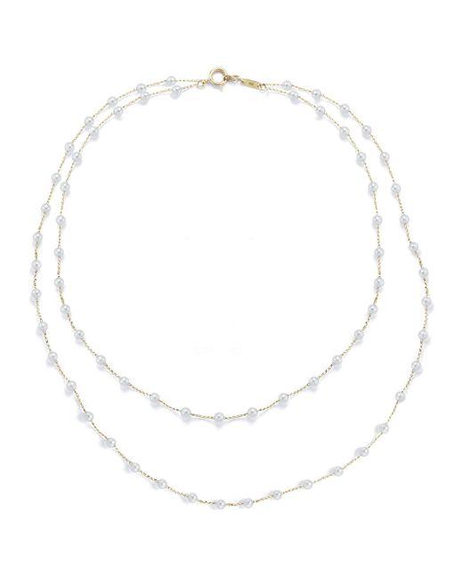 Mizuki - Metallic Two-row Akoya Pearl Necklace - Lyst