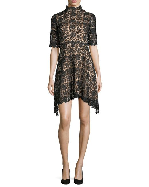 Catherine Deane | Black Jeanne High-neck Lace Cocktail Dress | Lyst
