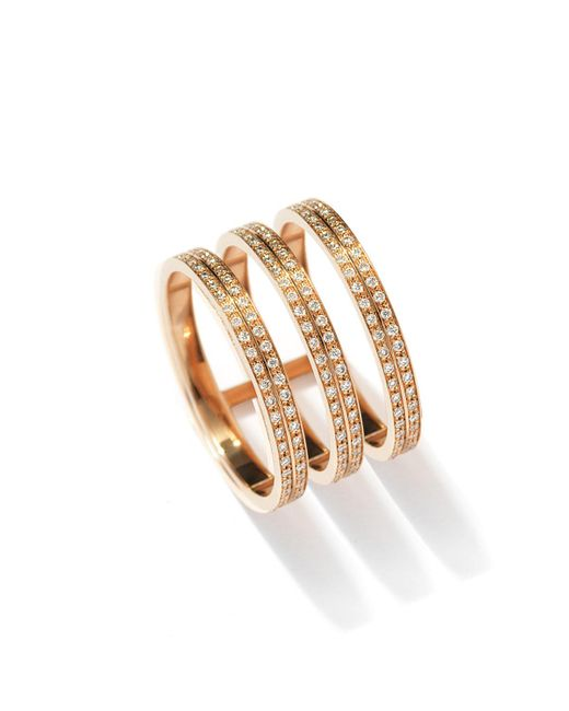 Repossi - Metallic Berbère Three-row Diamond Ring In 18k Rose Gold - Lyst