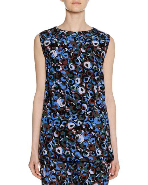 Marni - Blue Sleeveless Crewneck Abstract-print Silk Woven Tank - Lyst