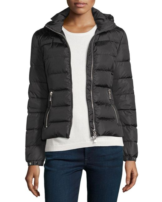 Moncler | Black Oiron Quilted Puffer Coat W/leather Trim | Lyst