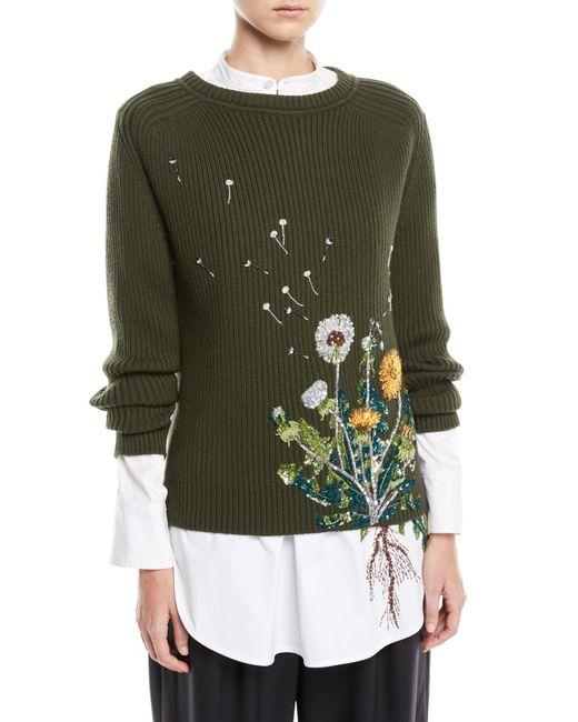 Oscar de la Renta - Green Embellished Dandelion Wool Blend Sweater - Lyst