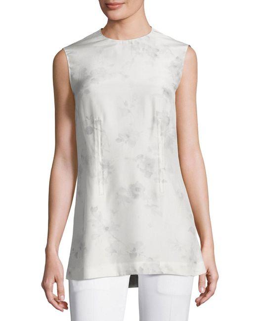 Calvin Klein | Gray Flower-print Silk Shell Top | Lyst