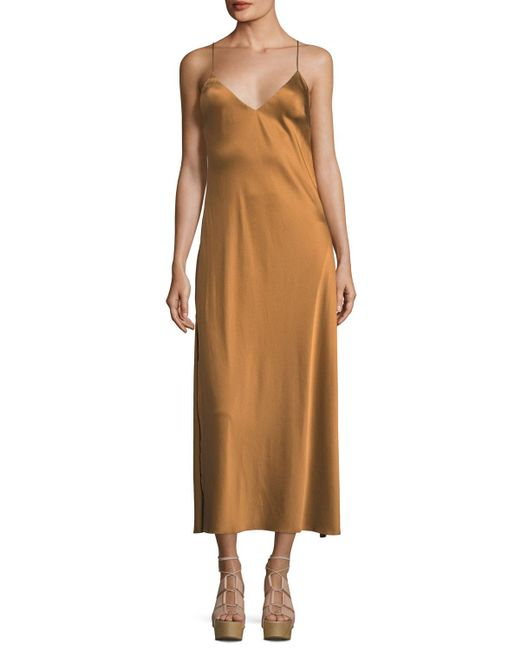 LoveShackFancy - Natural Kate V-neck Satin Cocktail Slip Dress - Lyst
