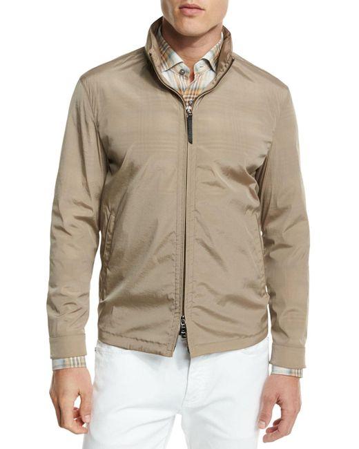 Ermenegildo zegna hooded wind resistant jacket for men lyst for Wind resistant material