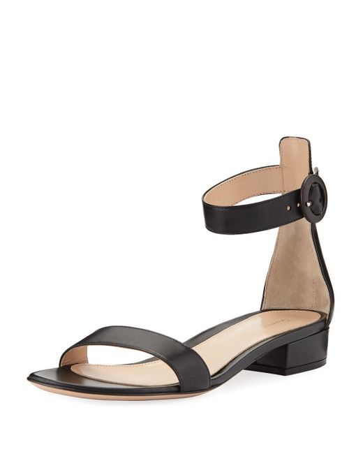 Gianvito Rossi - Black Leather Ankle-wrap 20mm Sandal - Lyst
