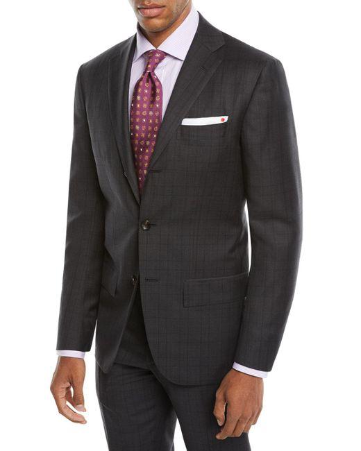Kiton - Gray Men's Tonal Plaid Two-piece Three-button Suit for Men - Lyst