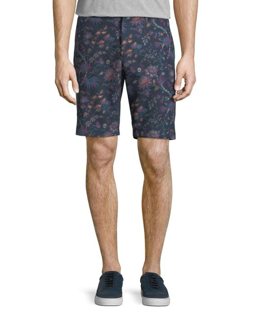 Etro - Blue Floral-print Bermuda Shorts for Men - Lyst