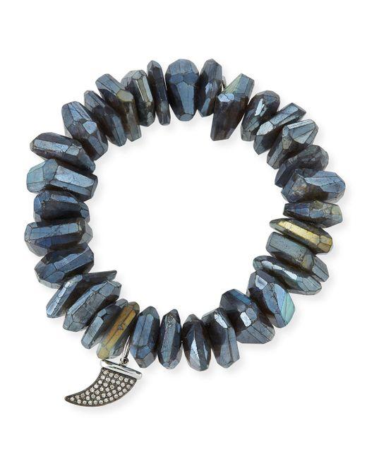 Sydney Evan - Multicolor Irregular Labradorite Beaded Bracelet With Diamond Horn Charm - Lyst