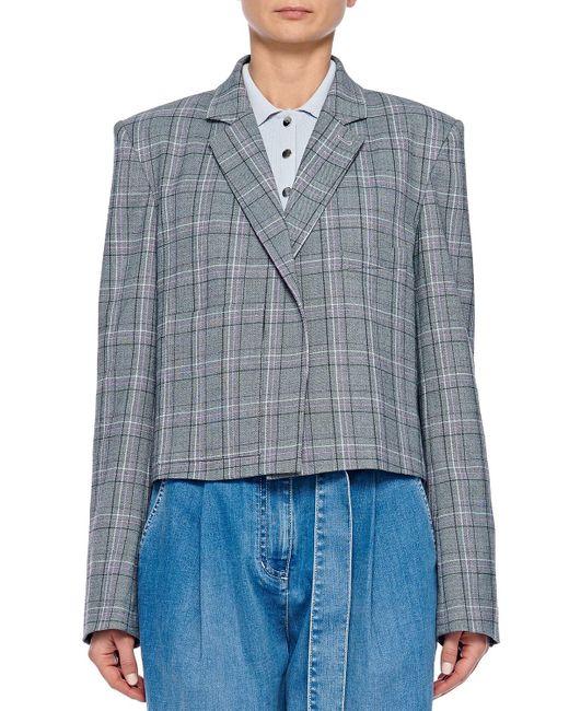 Tibi Blue James Menswear Check Button-front Cropped Blazer