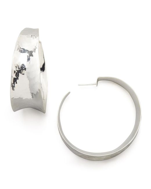 Nest - Metallic Hammered Silver Hoop Earrings - Lyst