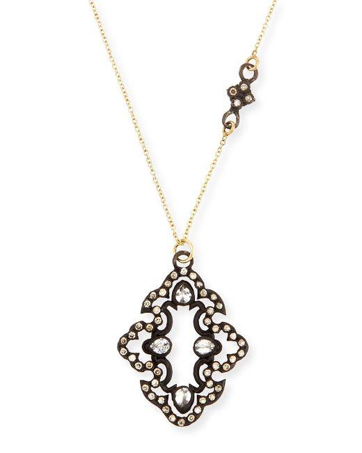 Armenta   Metallic Champagne Diamond Scroll Pendant Necklace   Lyst
