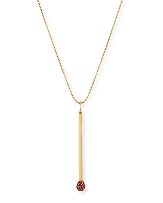 Sydney Evan | Metallic Ruby Matchstick Charm Necklace | Lyst