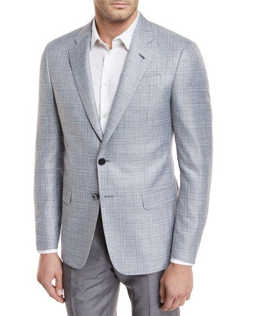 Giorgio Armani - Gray Plaid Viscose Sport Coat for Men - Lyst