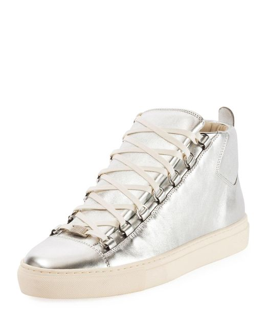 Balenciaga - Men's Arena Metallic Leather High-top Sneakers - Lyst