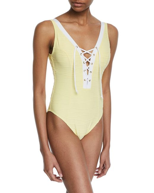 Letarte - Yellow Lace-up One-piece Swimsuit - Lyst