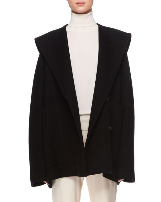 The Row - Black Ernstly Hooded Button-front Cotton-wool Jacket - Lyst