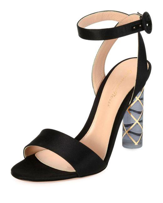 Gianvito Rossi | Black Satin Ankle-wrap Plexi-heel Sandal | Lyst