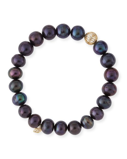 Sydney Evan - Black Peacock Pearl Beaded Bracelet With Diamond Ball Spacer - Lyst