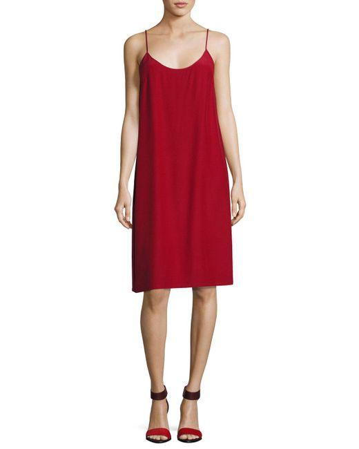 Robert Rodriguez   Red Silk Crepe Slip Dress   Lyst