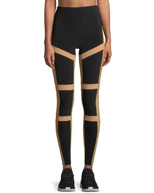 Norma Kamali - Black Spliced High-waist Contrast Leggings - Lyst