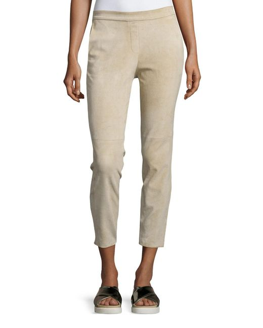 Theory   Natural Thaniel Stretch-Linen Cropped Pants   Lyst