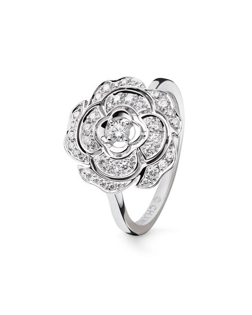 Chanel | Metallic Bouton De Camelia Ring In 18k White Gold And Diamonds | Lyst