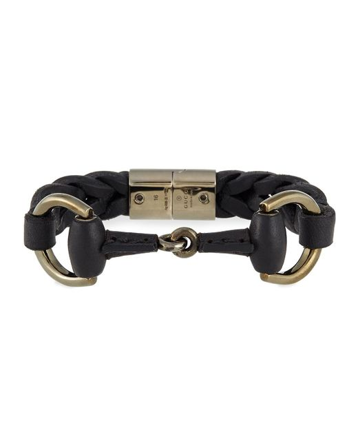 Gucci | Black Leather Bracelet With Horsebit Detail for Men | Lyst